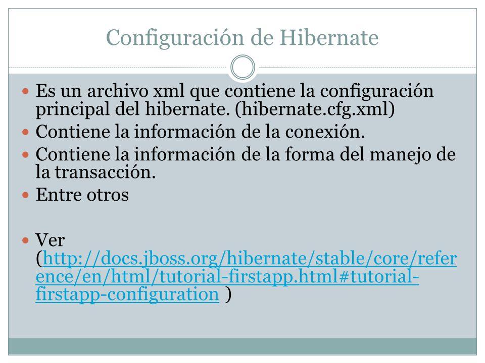 Configuración de Hibernate