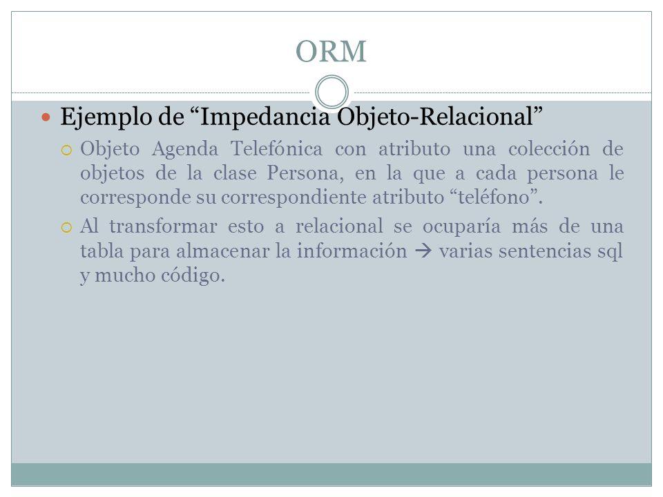 ORM Ejemplo de Impedancia Objeto-Relacional