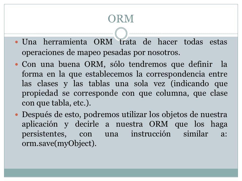 ORMUna herramienta ORM trata de hacer todas estas operaciones de mapeo pesadas por nosotros.