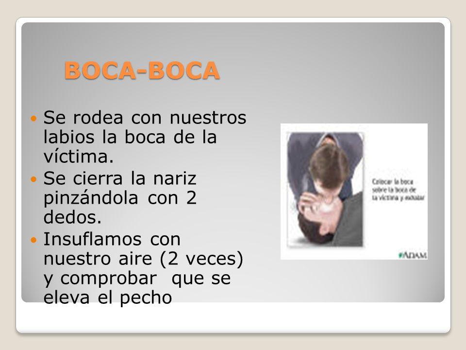 BOCA-BOCA Se rodea con nuestros labios la boca de la víctima.
