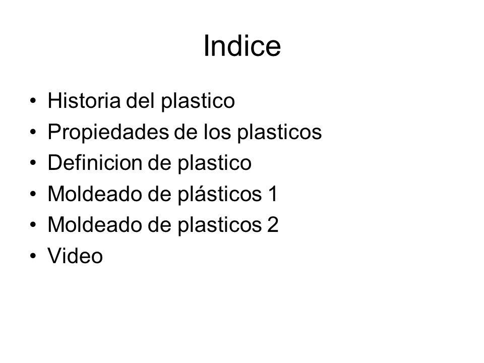 Indice Historia del plastico Propiedades de los plasticos