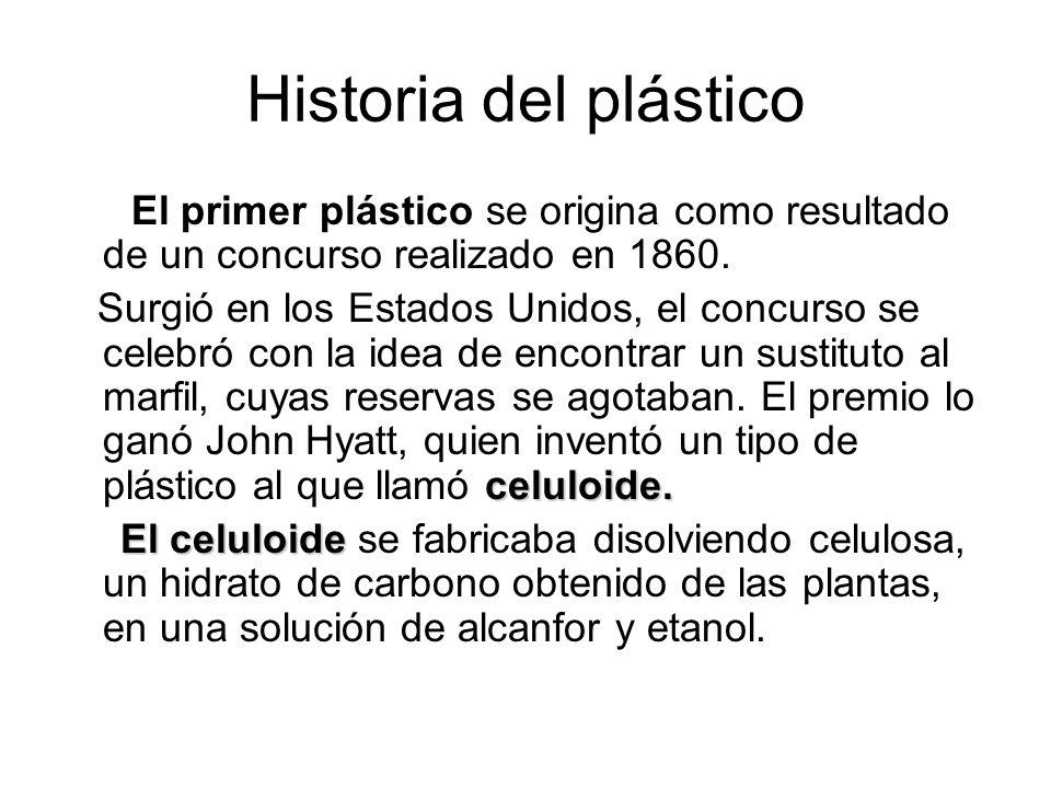 Historia del plástico El primer plástico se origina como resultado de un concurso realizado en 1860.