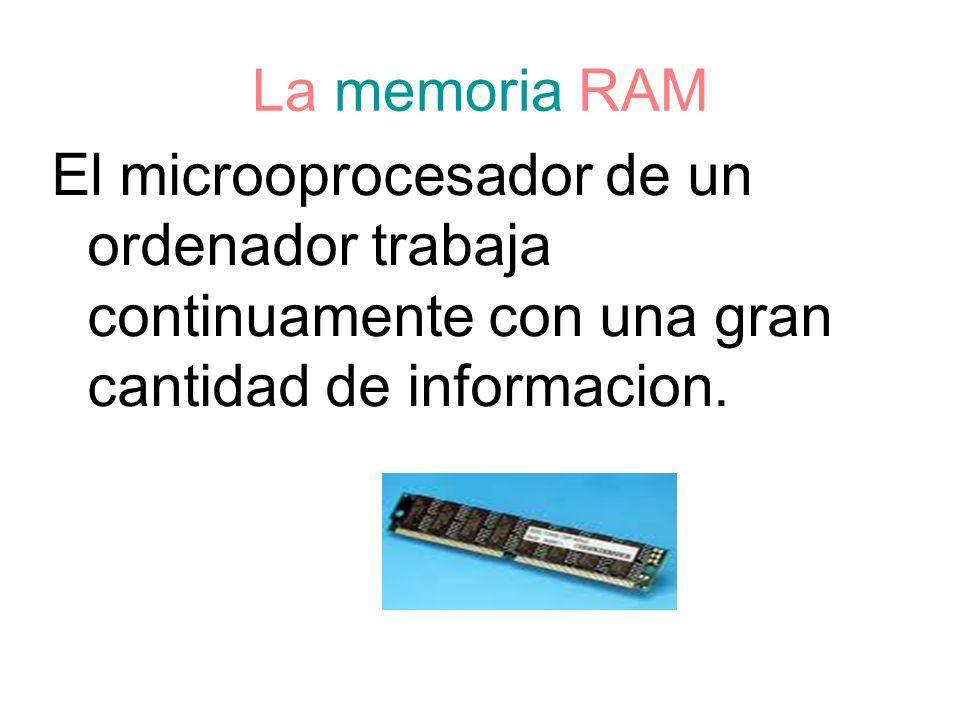 La memoria RAMEl microoprocesador de un ordenador trabaja continuamente con una gran cantidad de informacion.