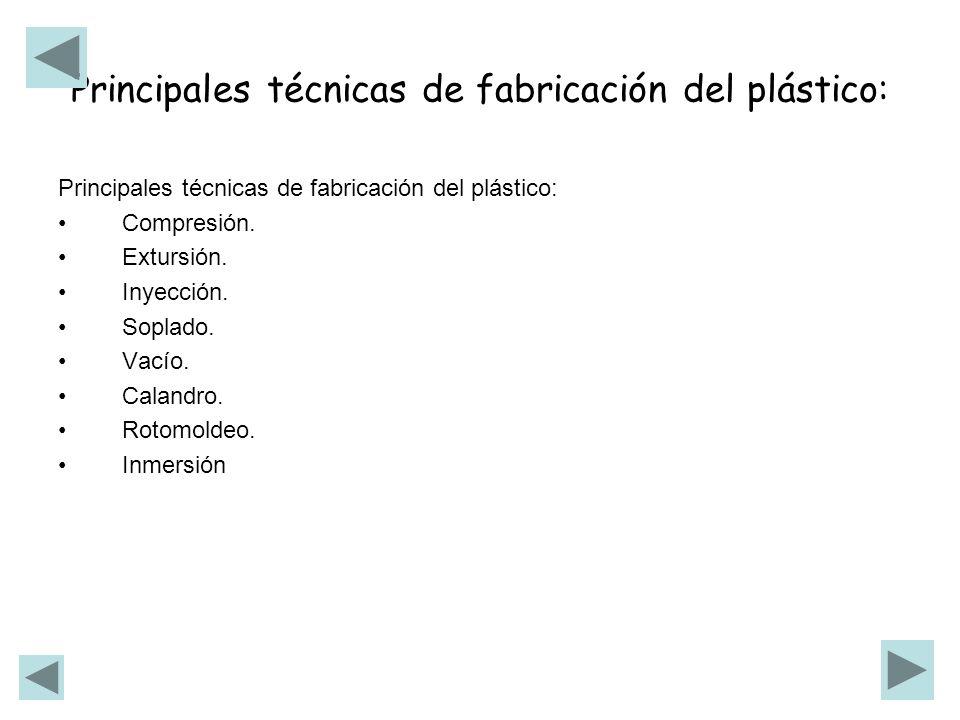 Principales técnicas de fabricación del plástico: