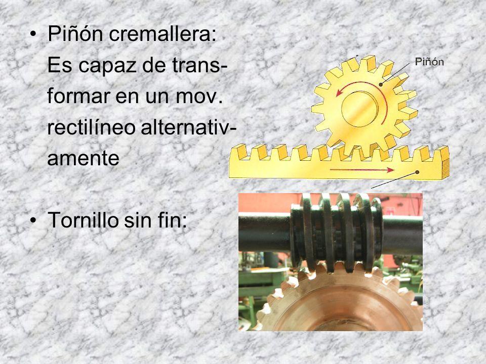 Piñón cremallera: Es capaz de trans- formar en un mov.