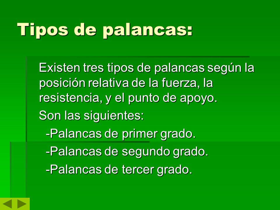 Tipos de palancas: Existen tres tipos de palancas según la posición relativa de la fuerza, la resistencia, y el punto de apoyo.