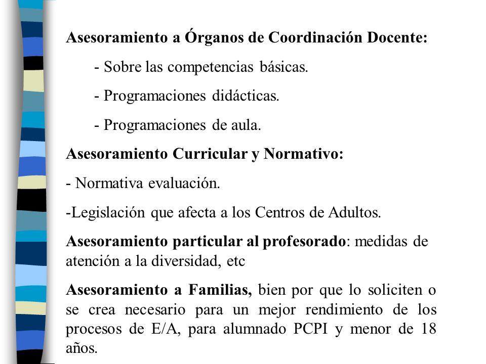 Asesoramiento a Órganos de Coordinación Docente:
