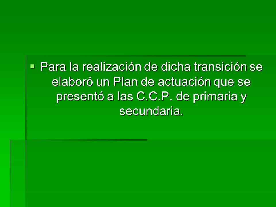 Para la realización de dicha transición se elaboró un Plan de actuación que se presentó a las C.C.P.