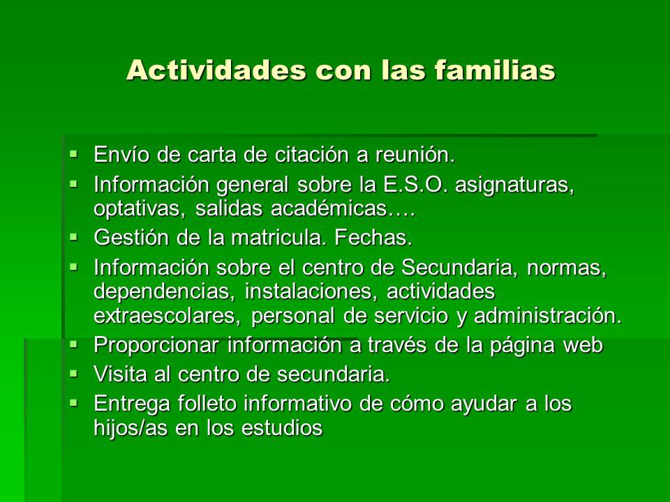 Actividades con las familias