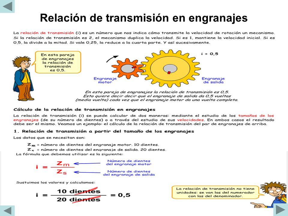 Relación de transmisión en engranajes