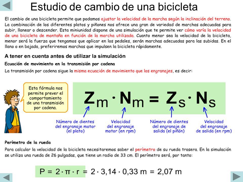 Estudio de cambio de una bicicleta