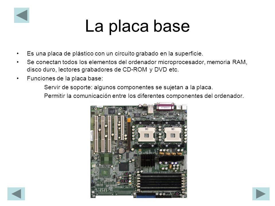 La placa base Es una placa de plástico con un circuito grabado en la superficie.