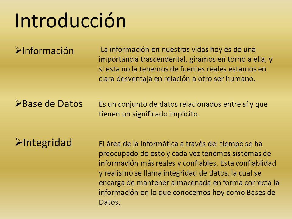 Introducción Integridad Información Base de Datos