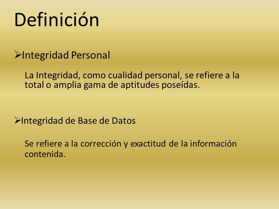 Definición Integridad Personal