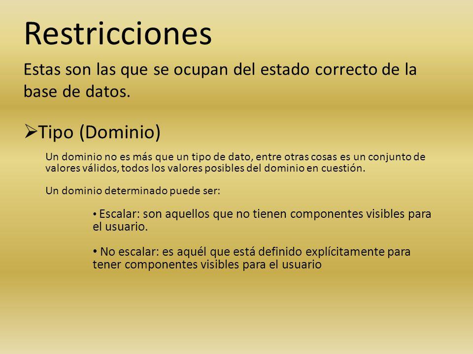Restricciones Tipo (Dominio)