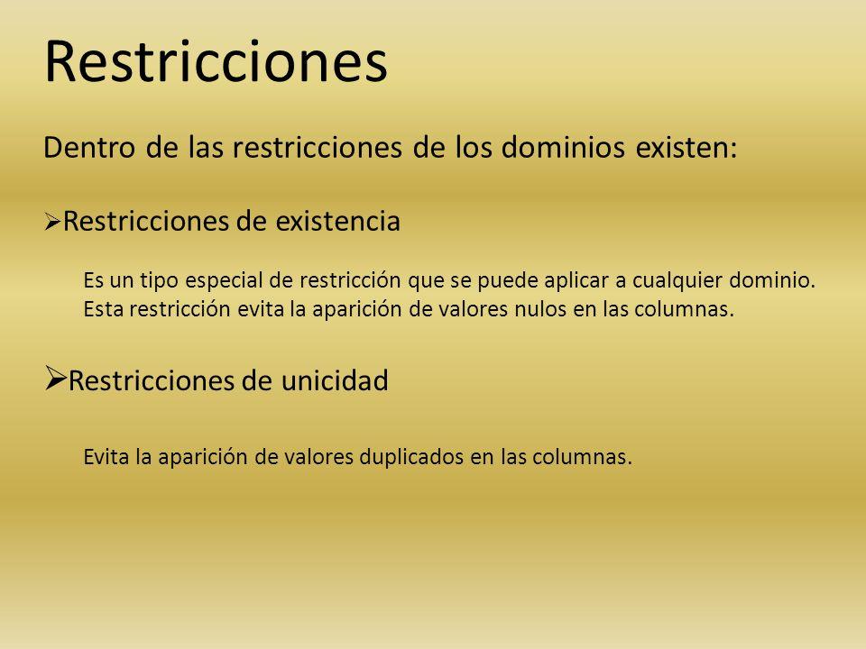 Restricciones Restricciones de unicidad