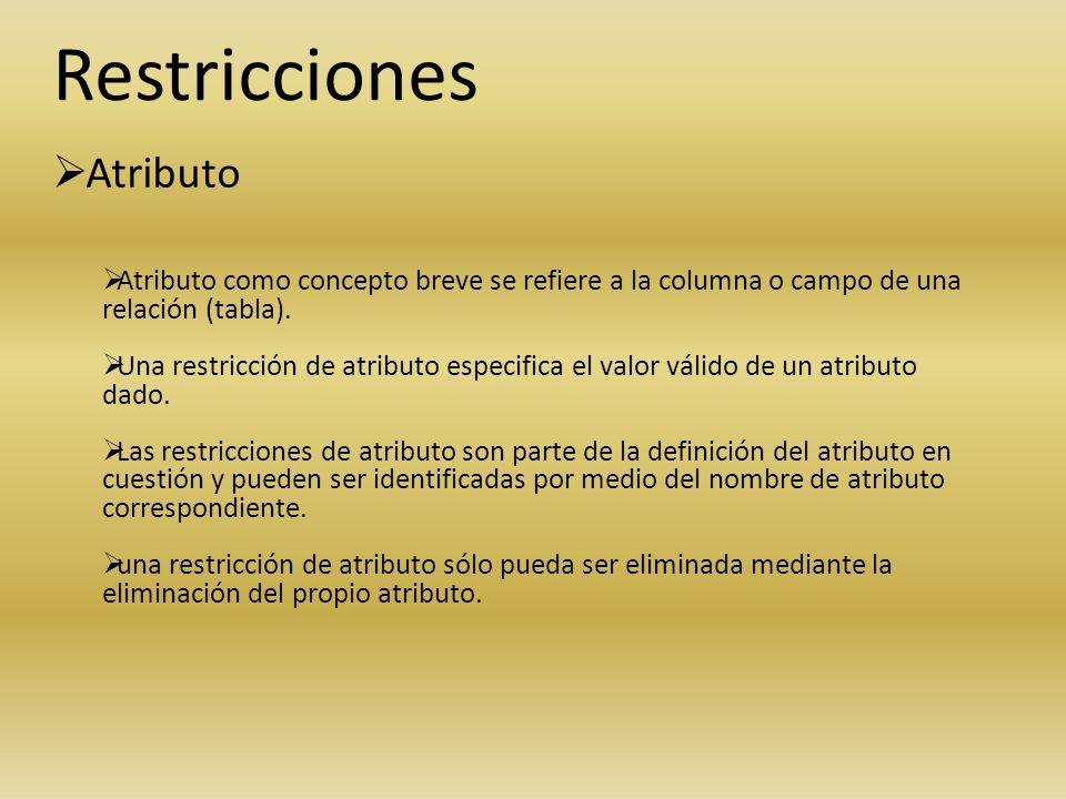 Restricciones Atributo