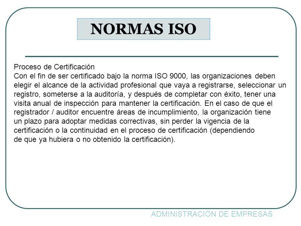 NORMAS ISO Proceso de Certificación