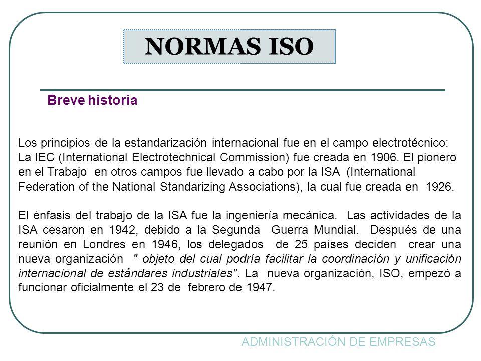 NORMAS ISO Breve historia
