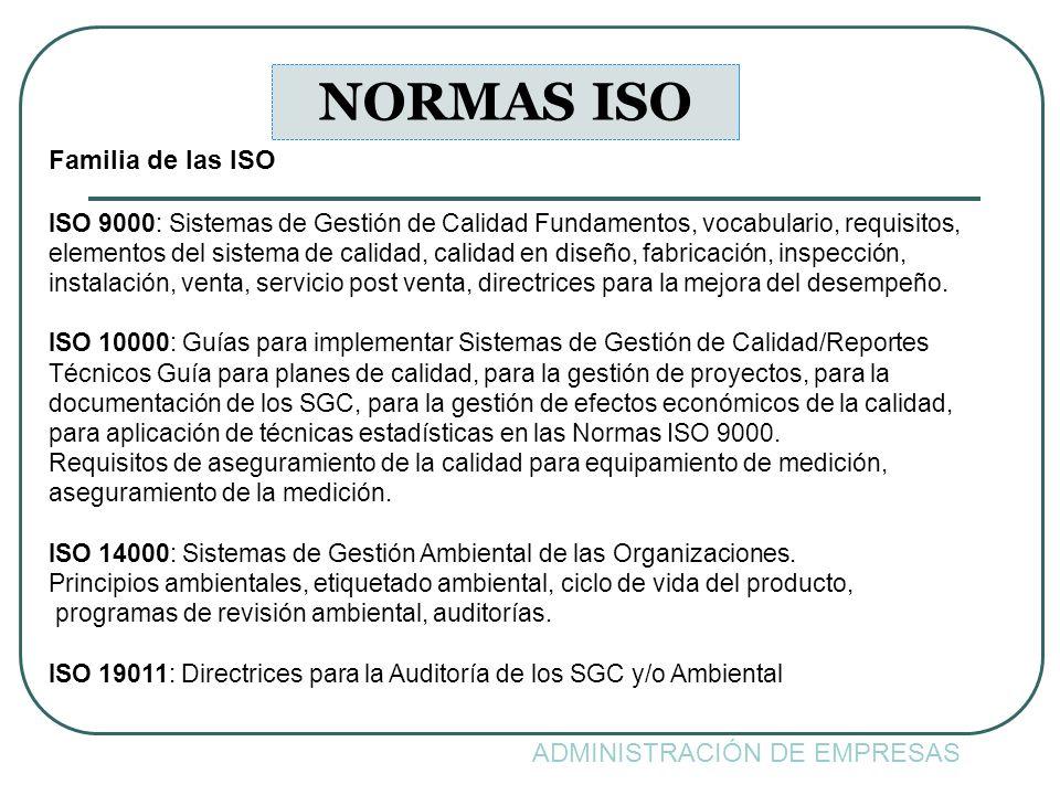 NORMAS ISO Familia de las ISO ADMINISTRACIÓN DE EMPRESAS