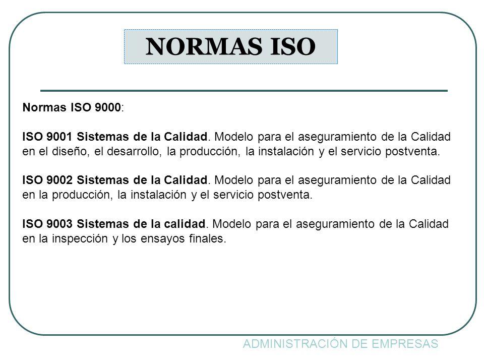 NORMAS ISO Normas ISO 9000: ISO 9001 Sistemas de la Calidad. Modelo para el aseguramiento de la Calidad.