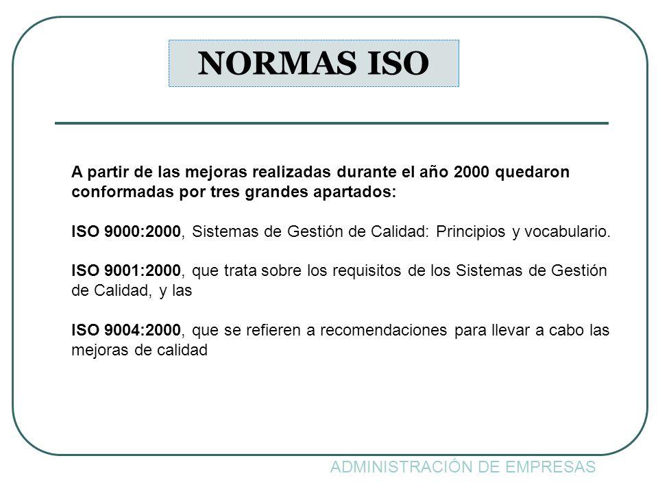 NORMAS ISO A partir de las mejoras realizadas durante el año 2000 quedaron. conformadas por tres grandes apartados: