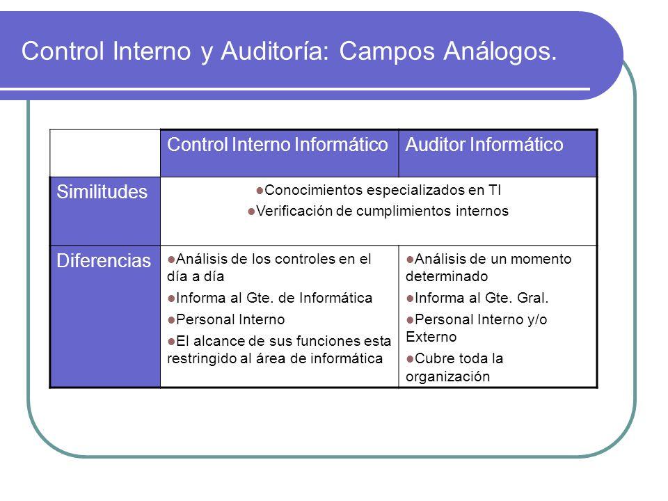 Control Interno y Auditoría: Campos Análogos.