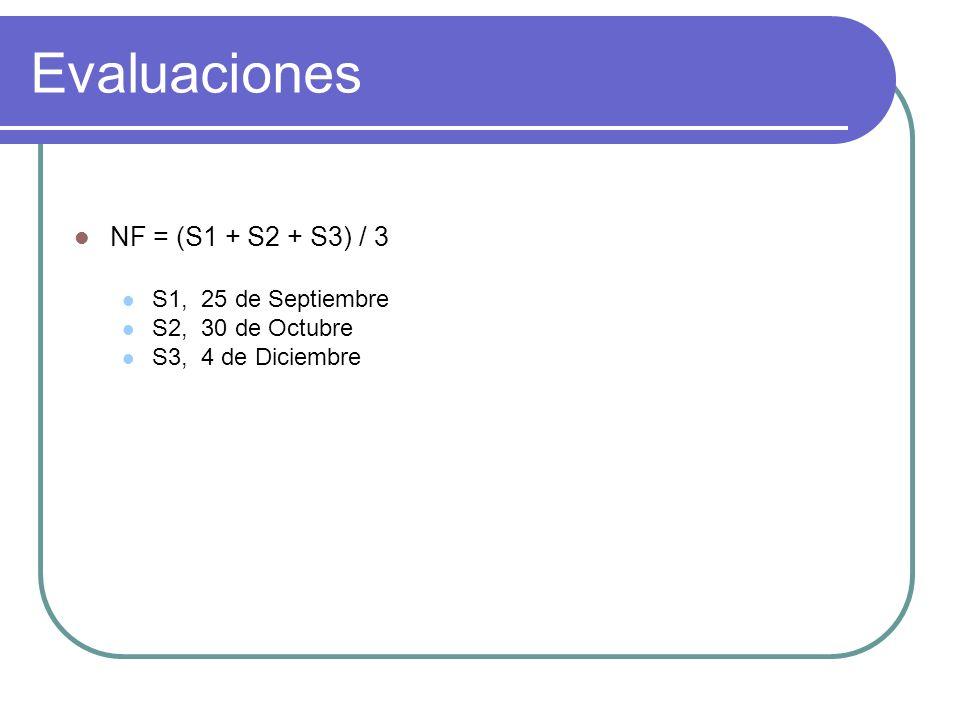 Evaluaciones NF = (S1 + S2 + S3) / 3 S1, 25 de Septiembre