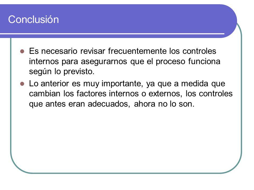 Conclusión Es necesario revisar frecuentemente los controles internos para asegurarnos que el proceso funciona según lo previsto.