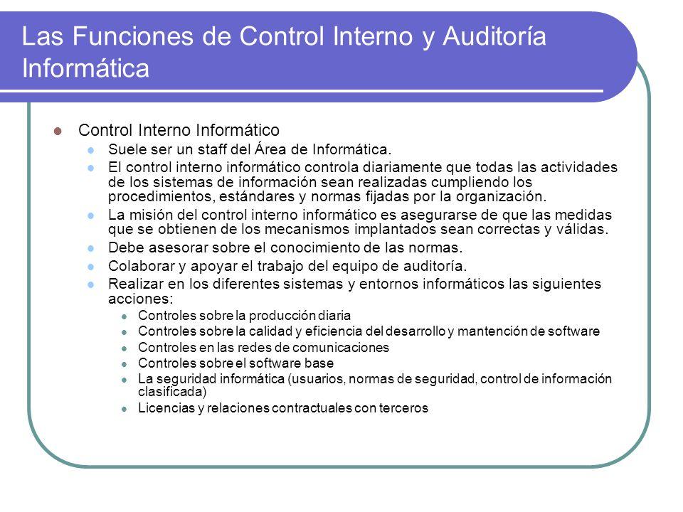 Las Funciones de Control Interno y Auditoría Informática