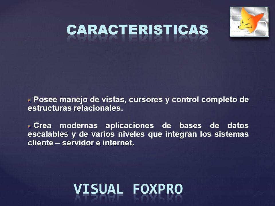 Posee manejo de vistas, cursores y control completo de estructuras relacionales.