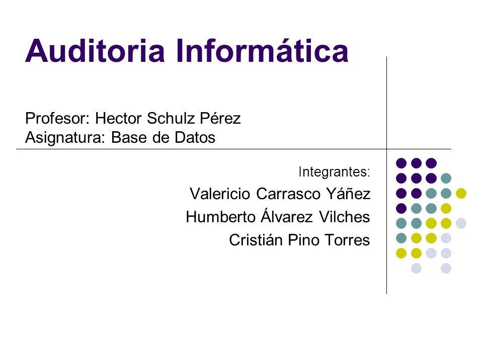 Auditoria Informática Profesor: Hector Schulz Pérez Asignatura: Base de Datos