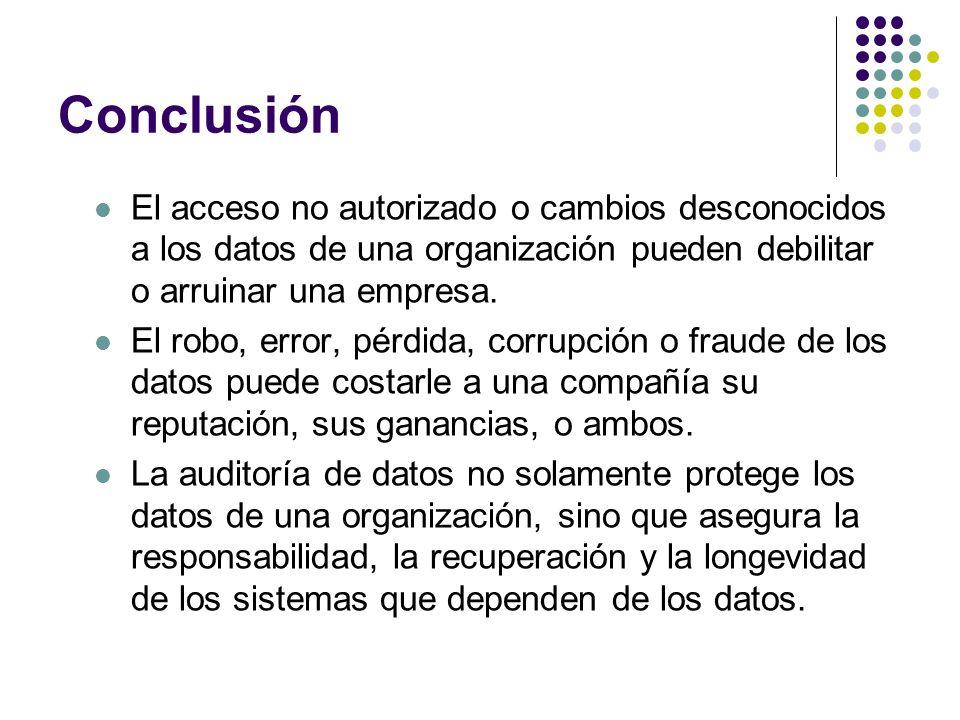 Conclusión El acceso no autorizado o cambios desconocidos a los datos de una organización pueden debilitar o arruinar una empresa.