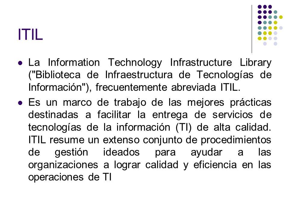 ITIL La Information Technology Infrastructure Library ( Biblioteca de Infraestructura de Tecnologías de Información ), frecuentemente abreviada ITIL.