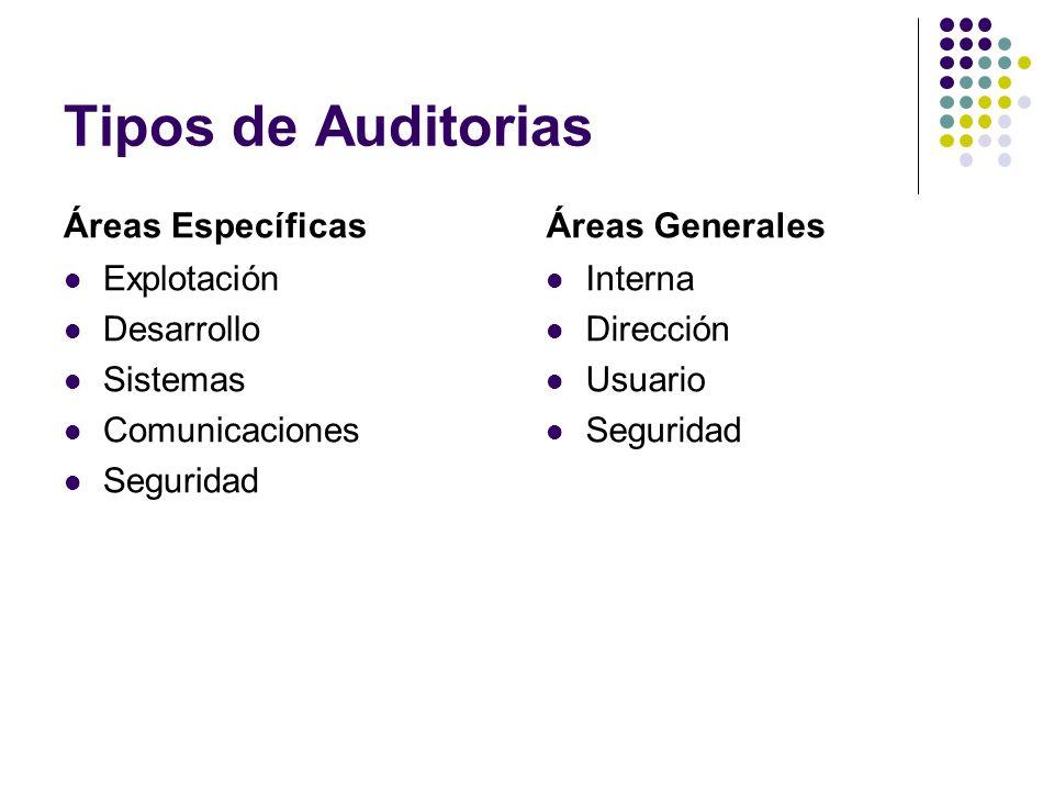 Tipos de Auditorias Áreas Específicas Áreas Generales Explotación
