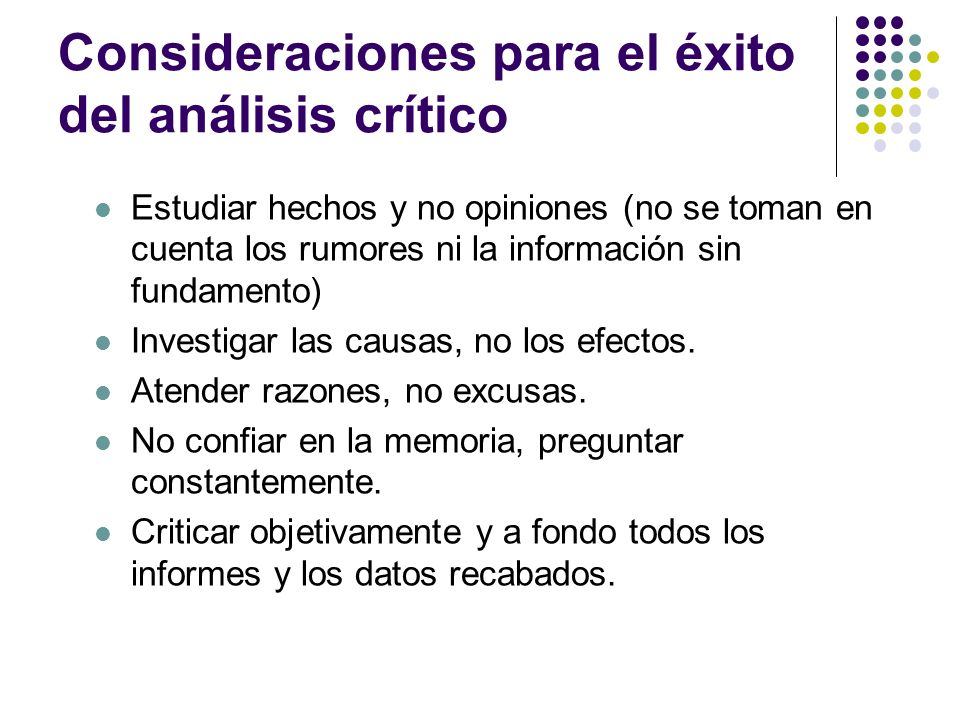 Consideraciones para el éxito del análisis crítico