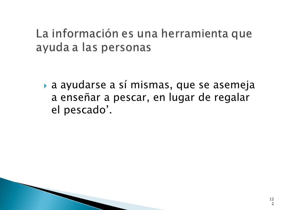 La información es una herramienta que ayuda a las personas
