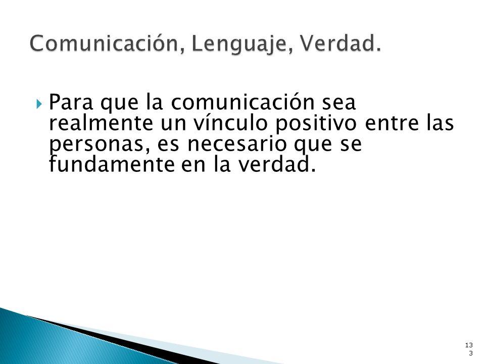 Comunicación, Lenguaje, Verdad.