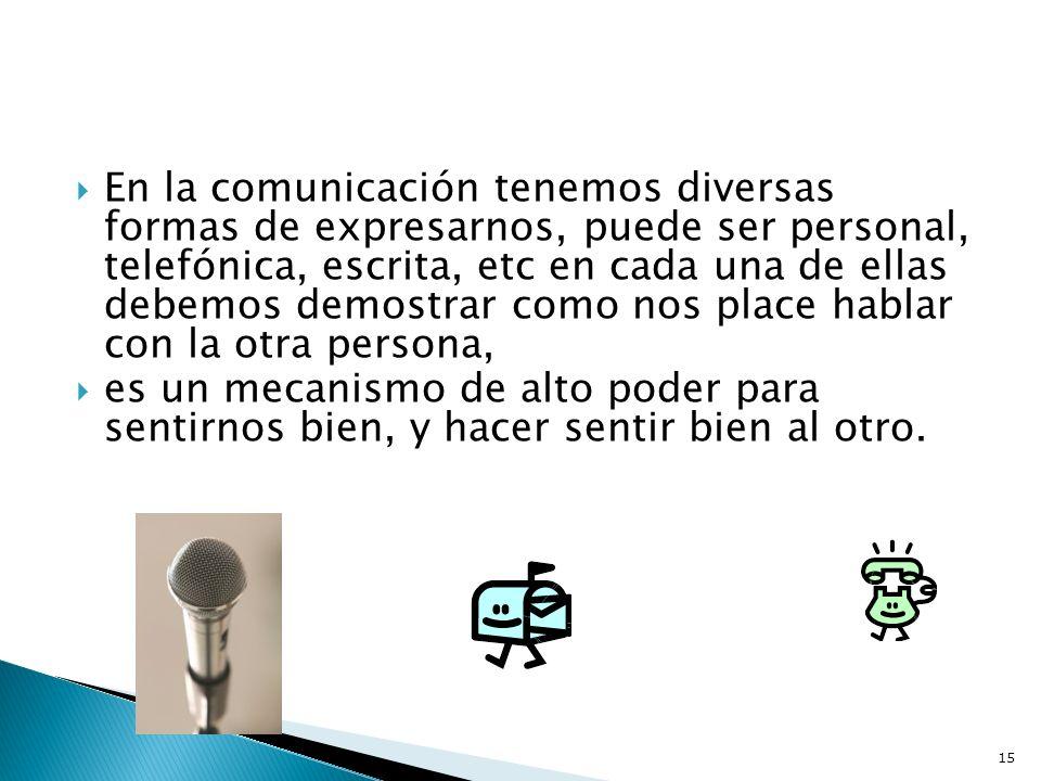 En la comunicación tenemos diversas formas de expresarnos, puede ser personal, telefónica, escrita, etc en cada una de ellas debemos demostrar como nos place hablar con la otra persona,