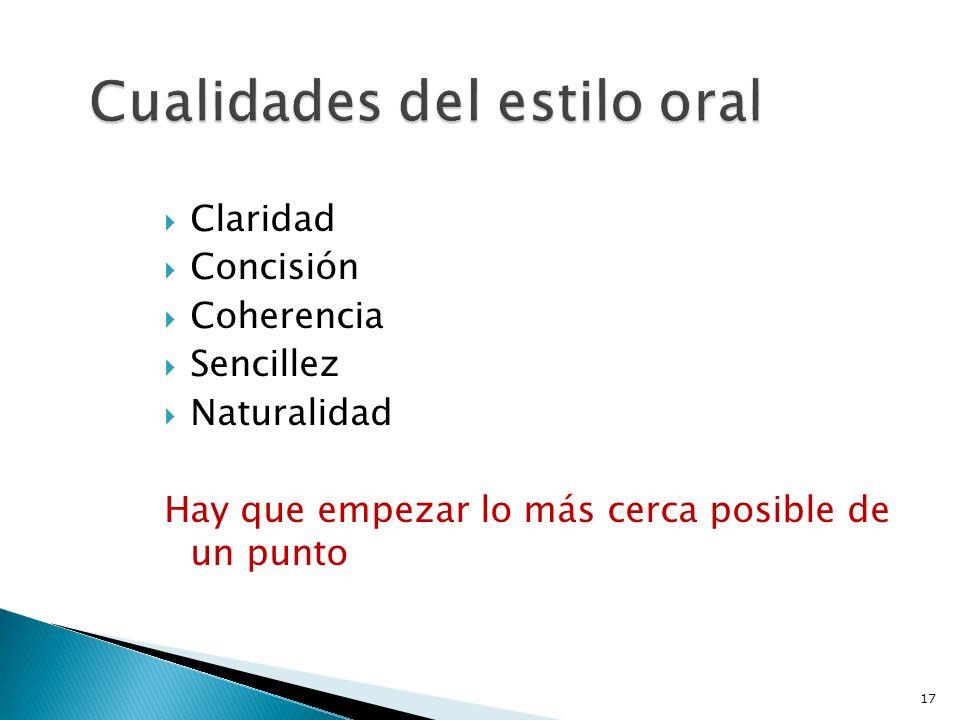 Cualidades del estilo oral