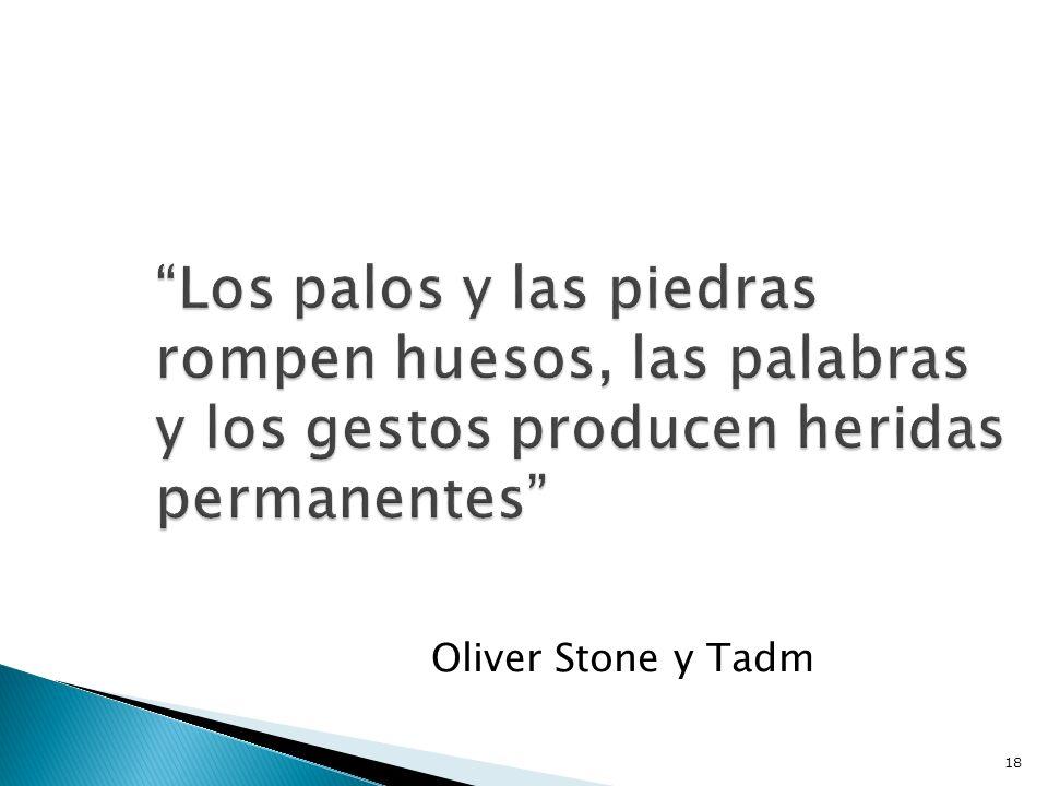 Los palos y las piedras rompen huesos, las palabras y los gestos producen heridas permanentes