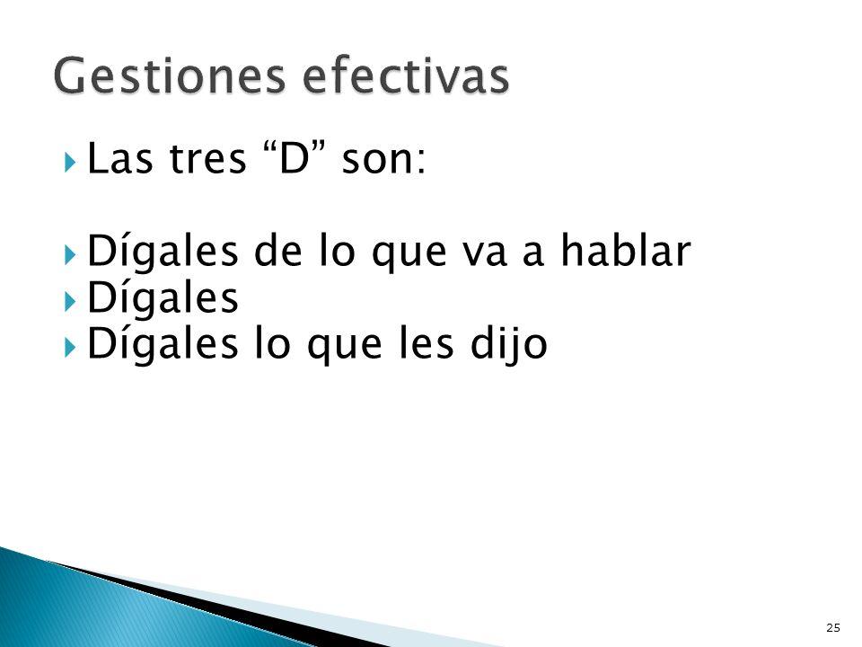Gestiones efectivas Las tres D son: Dígales de lo que va a hablar