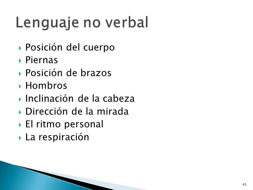 Lenguaje no verbal Posición del cuerpo Piernas Posición de brazos