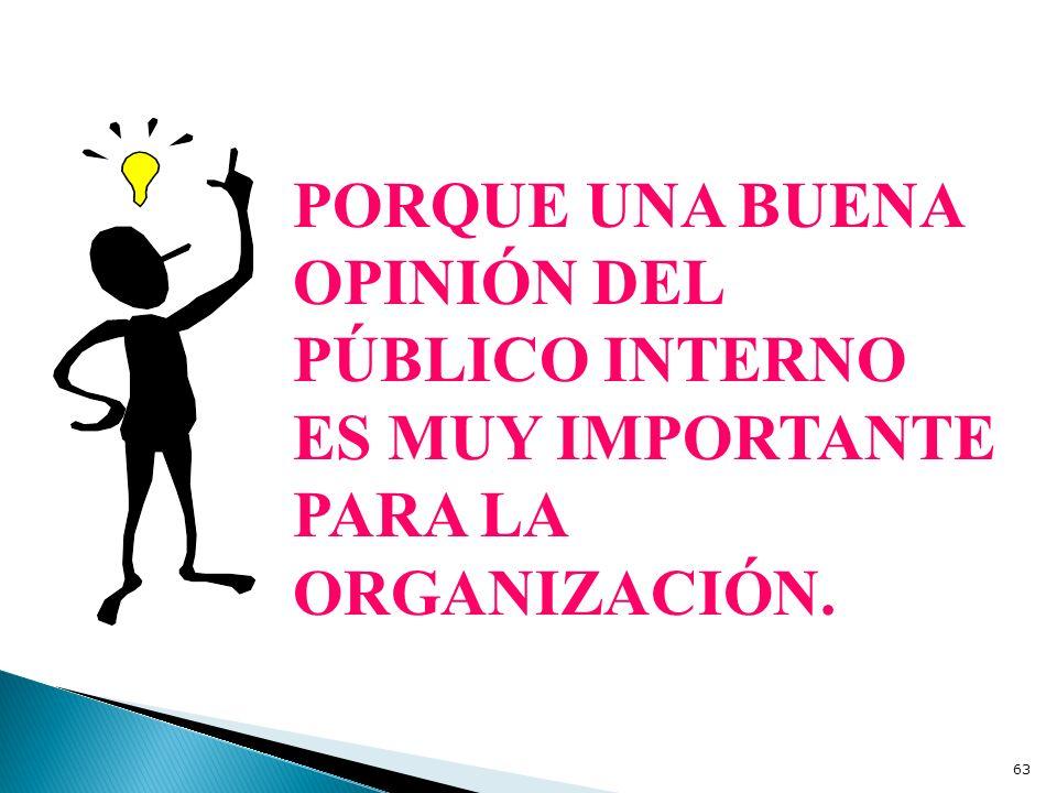 PORQUE UNA BUENA OPINIÓN DEL PÚBLICO INTERNO ES MUY IMPORTANTE PARA LA ORGANIZACIÓN.