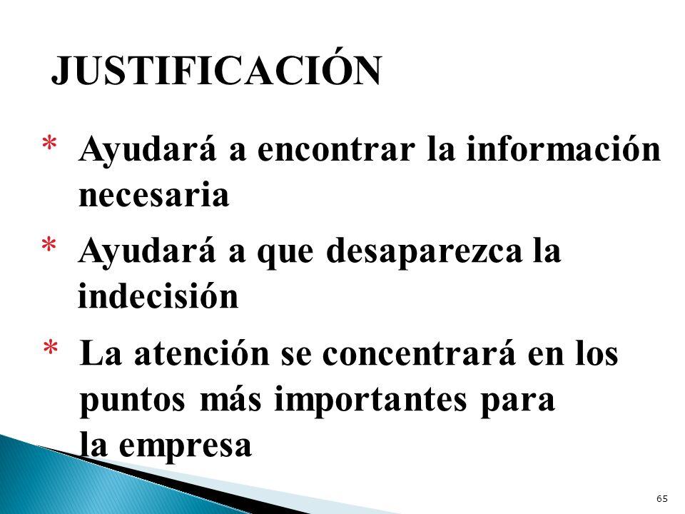 JUSTIFICACIÓN * Ayudará a encontrar la información necesaria