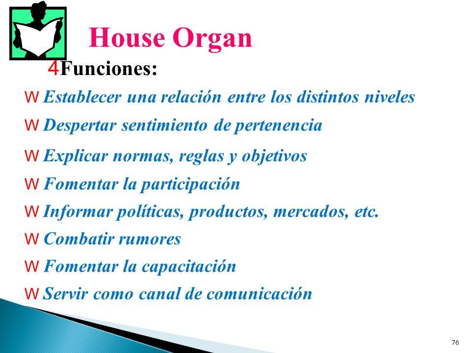 House Organ Funciones: