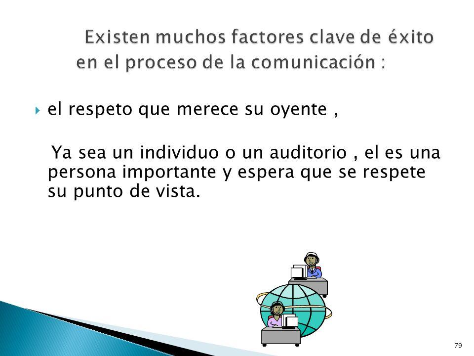 Existen muchos factores clave de éxito en el proceso de la comunicación :