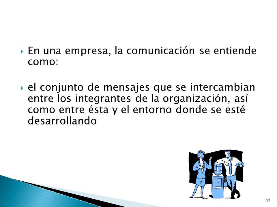 En una empresa, la comunicación se entiende como: