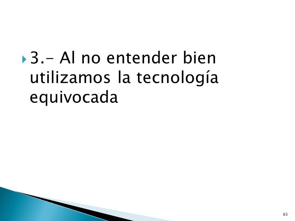 3.- Al no entender bien utilizamos la tecnología equivocada