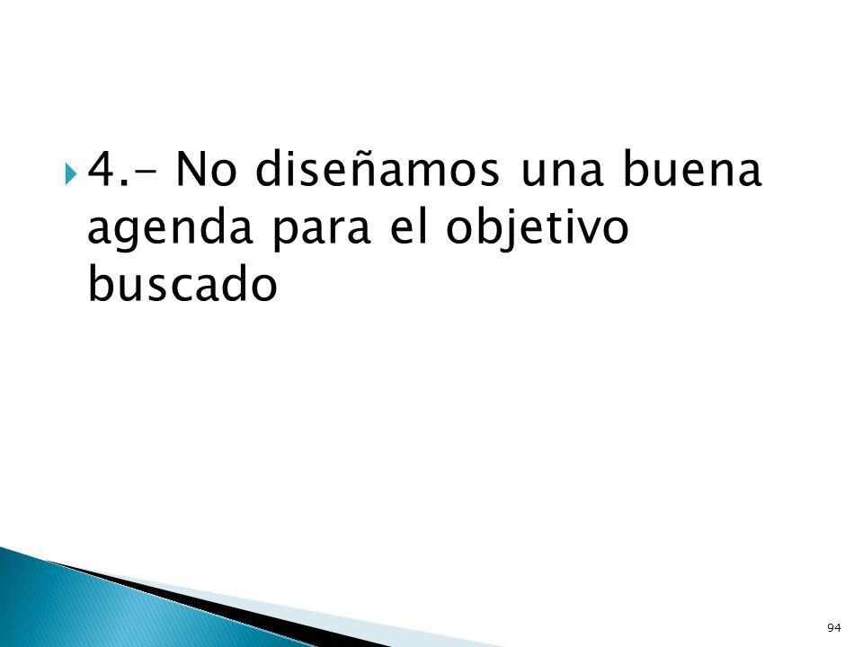4.- No diseñamos una buena agenda para el objetivo buscado
